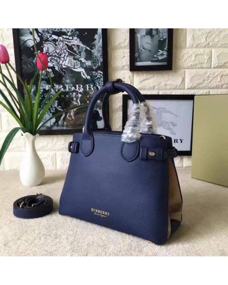 BURBERRY Banner House Check Leather Tote Sling Handbag 62d8a11320b20