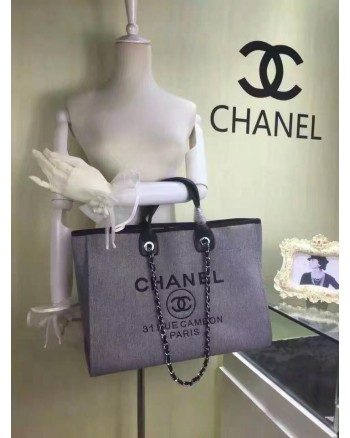 CHANEL 31 RUE CAMBON Canvas Large Shopper Tote / Shoulder Handbag (PREMIUM GRADE)