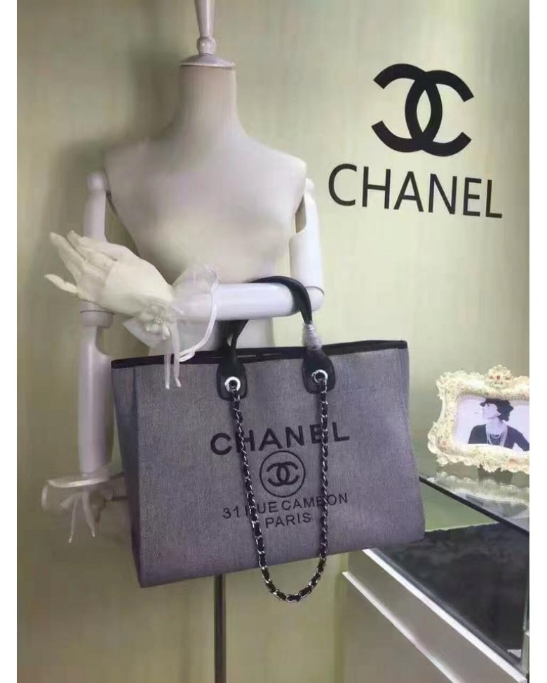 da0e76723207 CHANEL 31 RUE CAMBON Canvas Large Shopper Tote / Shoulder ...