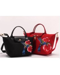 Longchamp  Embroidered Flower & Bird Tote/Sling Handbag (SMALL & MEDIUM size)