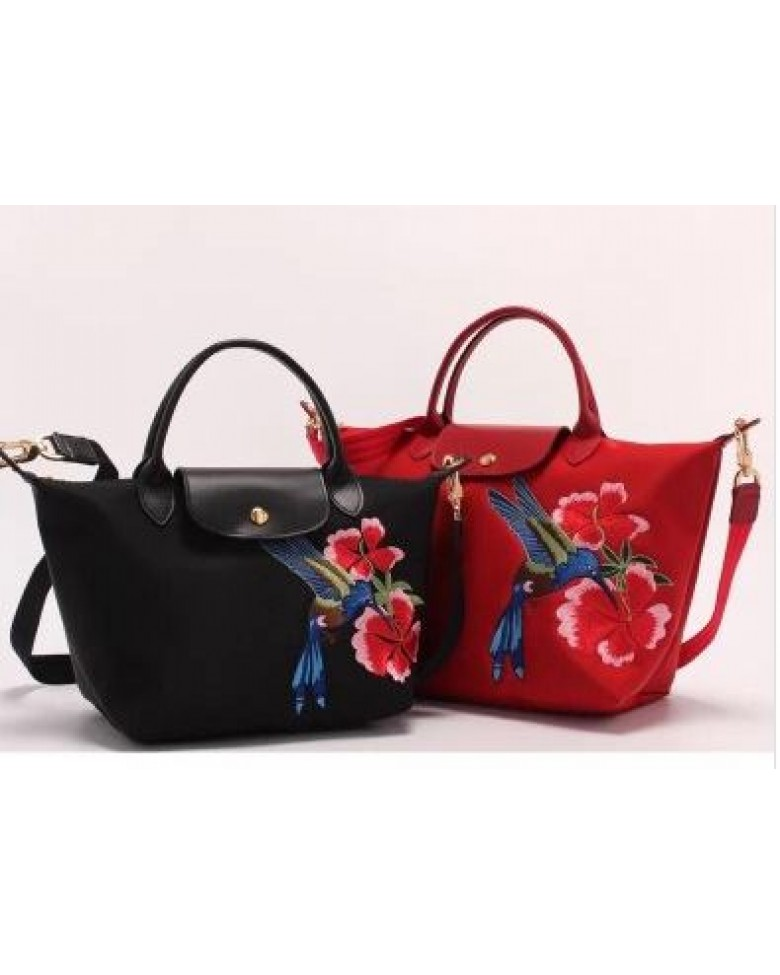 eacdb70b9e35 Longchamp Embroidered Flower   Bird Tote Sling Handbag (SMALL   MEDIUM size)