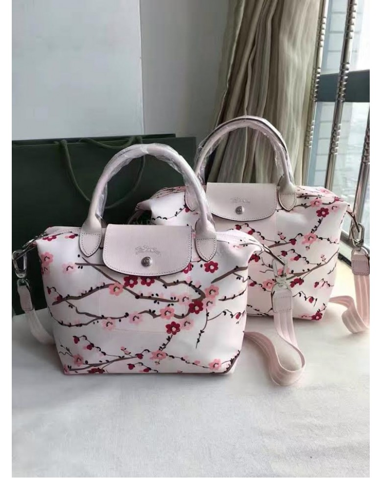 5485d6ef1afb (Premium Quality) LONGCHAMP Bag Le Pliage Neo Sakura Tote   Sling Handbag ( SMALL   MEDIUM size)